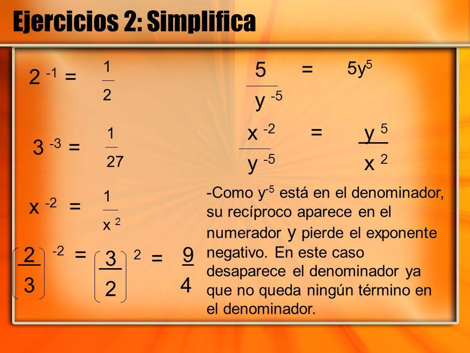 Ejercicios 2: Simplifica