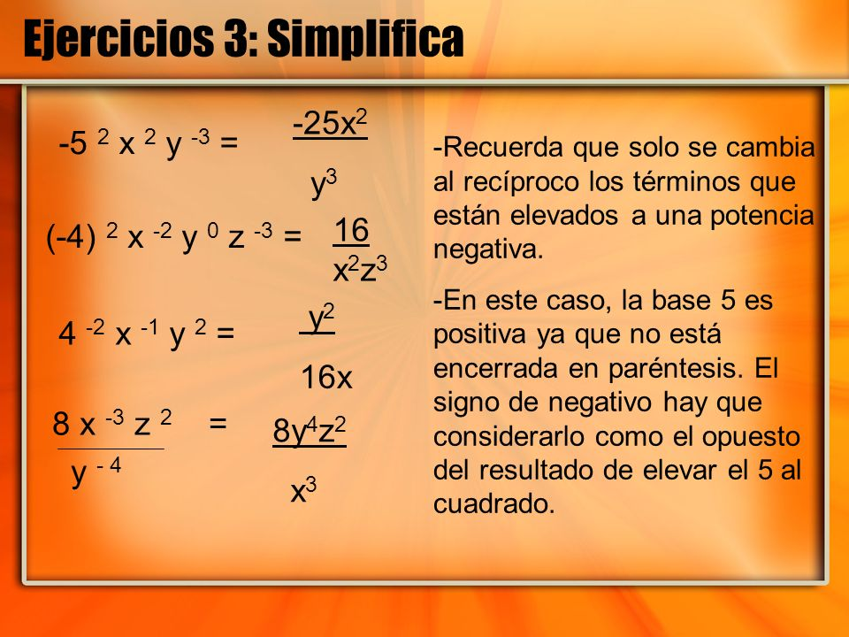 Ejercicios 3: Simplifica