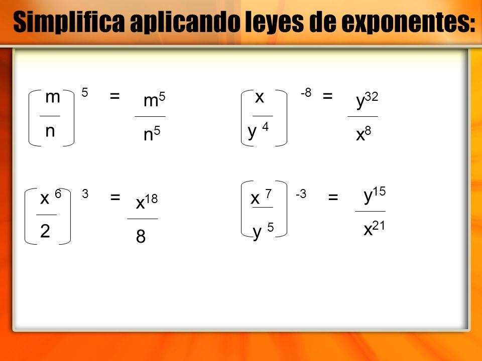 Simplifica aplicando leyes de exponentes: