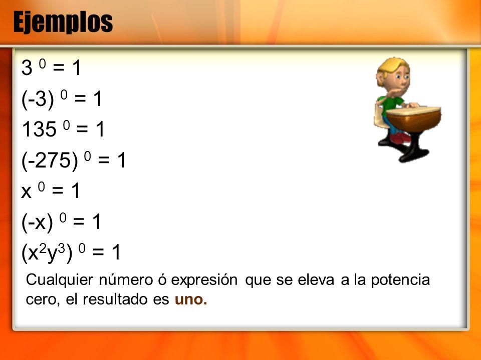 Ejemplos 3 0 = 1 (-3) 0 = 1 135 0 = 1 (-275) 0 = 1 x 0 = 1 (-x) 0 = 1