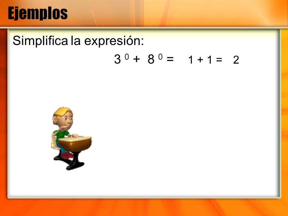 Ejemplos Simplifica la expresión: 3 0 + 8 0 = 1 + 1 = 2