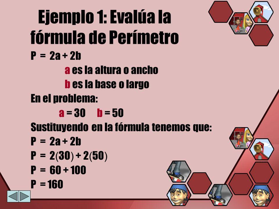 Ejemplo 1: Evalúa la fórmula de Perímetro