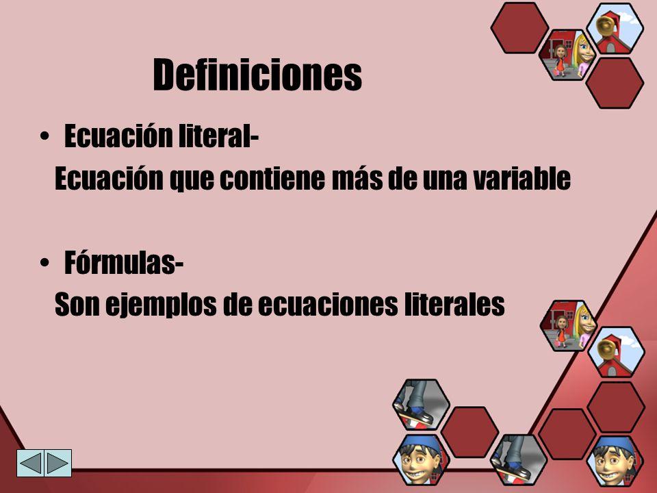 Definiciones Ecuación literal-