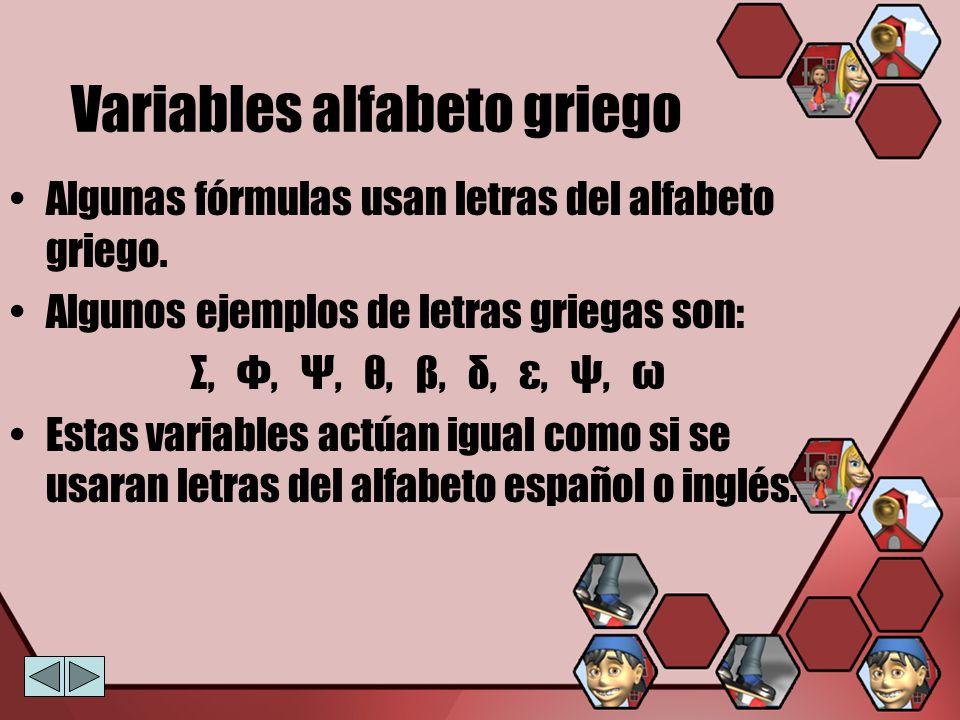 Variables alfabeto griego
