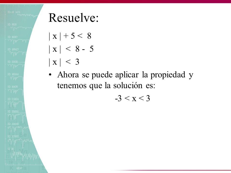Resuelve: | x | + 5 < 8 | x | < 8 - 5 | x | < 3