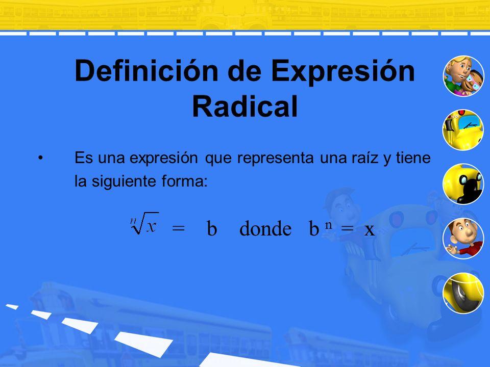 Definición de Expresión Radical