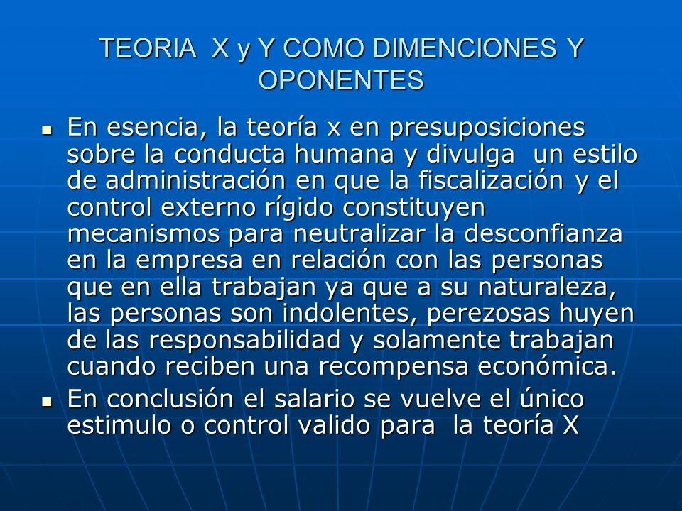 TEORIA X y Y COMO DIMENCIONES Y OPONENTES