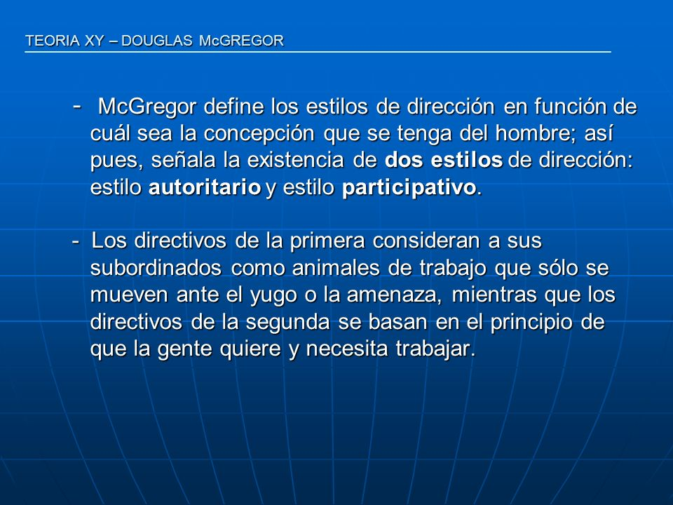 TEORIA XY – DOUGLAS McGREGOR