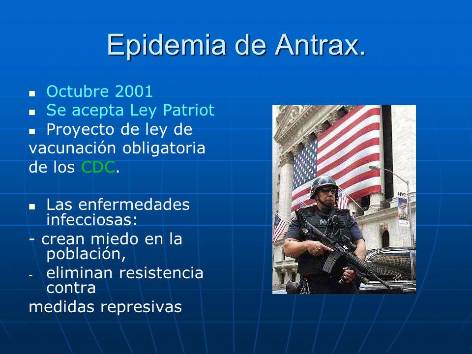 Epidemia de Antrax. Octubre 2001 Se acepta Ley Patriot