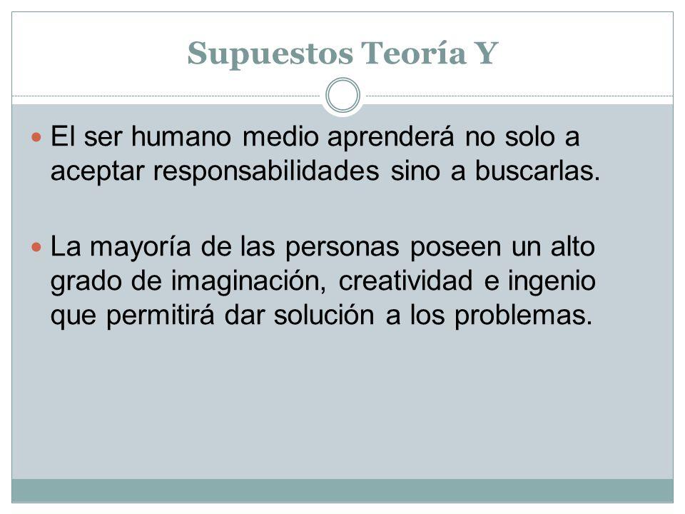 Supuestos Teoría Y El ser humano medio aprenderá no solo a aceptar responsabilidades sino a buscarlas.