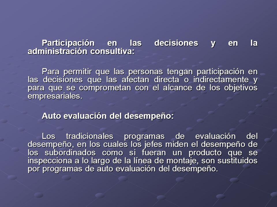 Participación en las decisiones y en la administración consultiva: Para permitir que las personas tengan participación en las decisiones que las afectan directa o indirectamente y para que se comprometan con el alcance de los objetivos empresariales.
