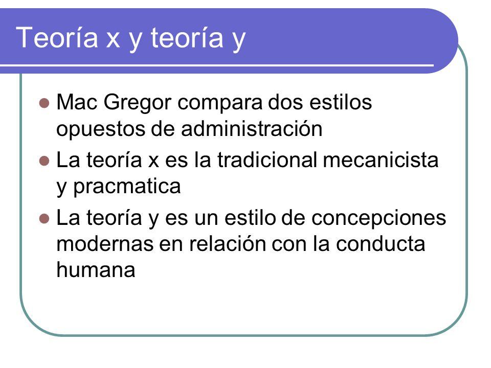 Teoría x y teoría y Mac Gregor compara dos estilos opuestos de administración. La teoría x es la tradicional mecanicista y pracmatica.