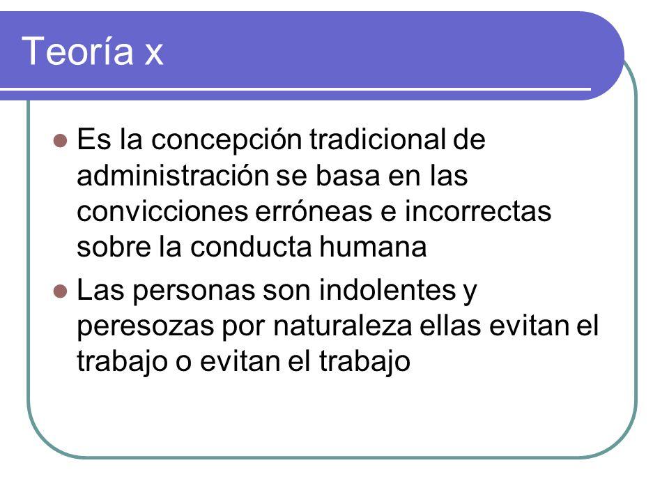 Teoría x Es la concepción tradicional de administración se basa en las convicciones erróneas e incorrectas sobre la conducta humana.