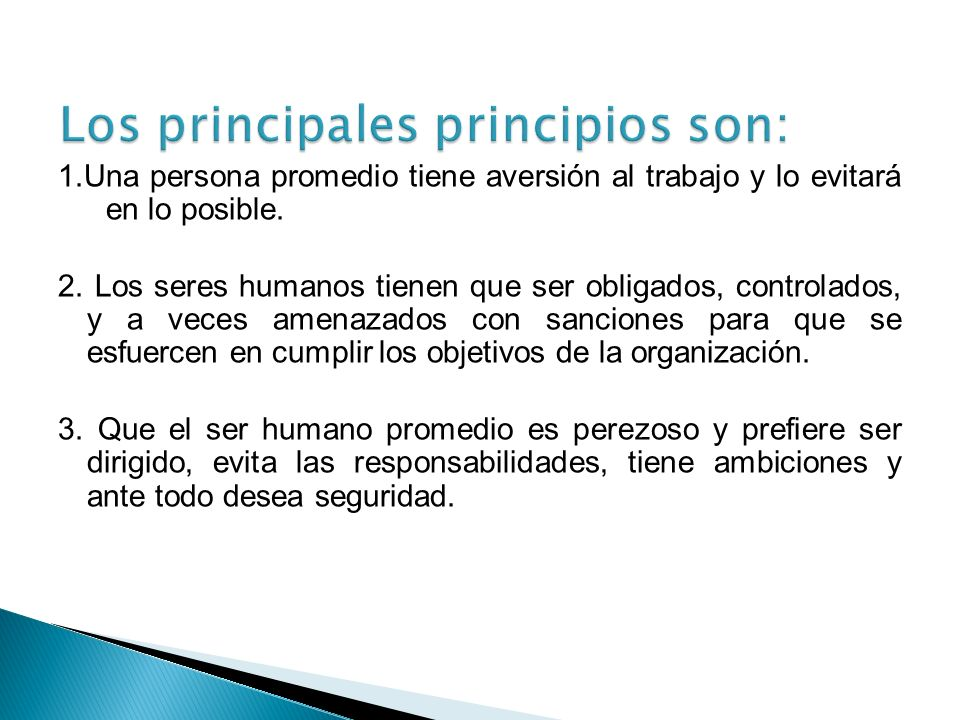 Los principales principios son: