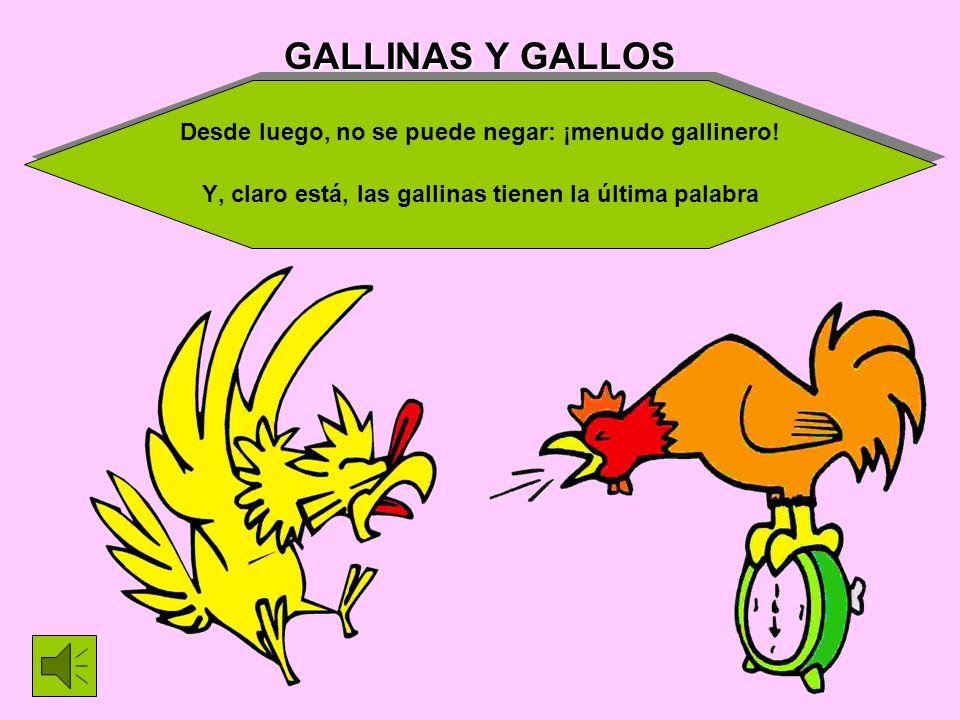 GALLINAS Y GALLOS Desde luego, no se puede negar: ¡menudo gallinero