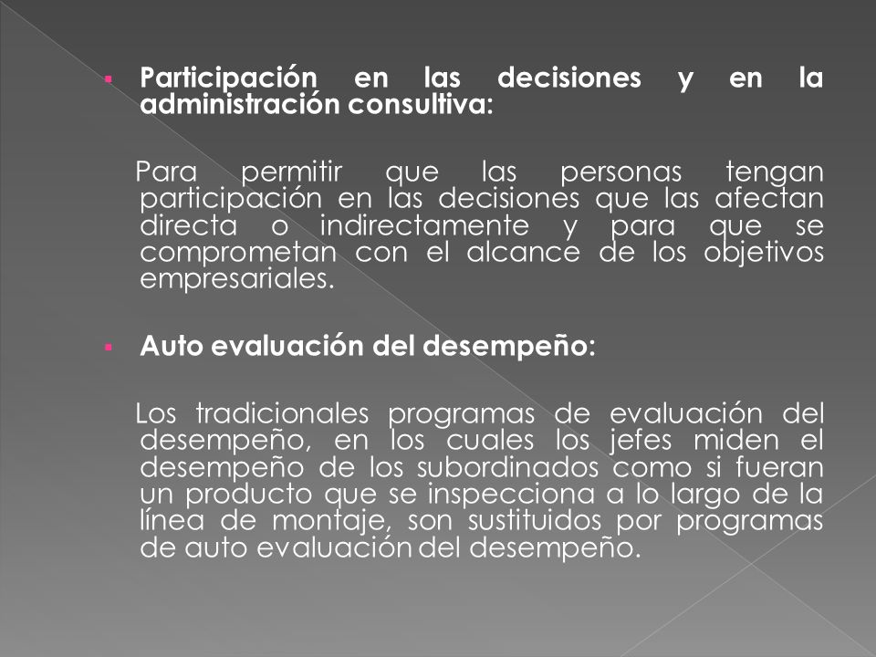 Participación en las decisiones y en la administración consultiva: