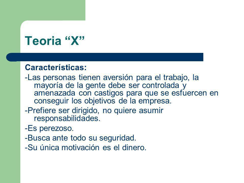Teoria X Características: