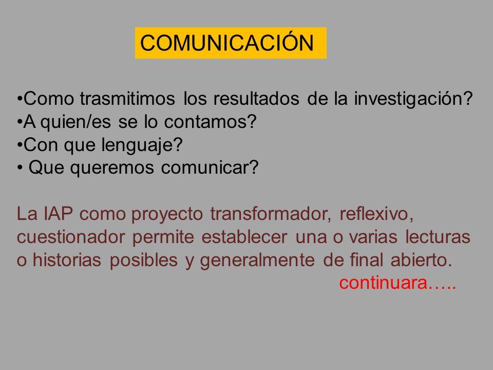 COMUNICACIÓN Como trasmitimos los resultados de la investigación