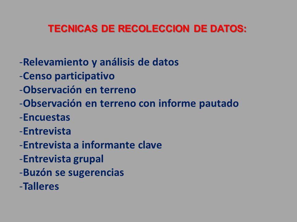 TECNICAS DE RECOLECCION DE DATOS:
