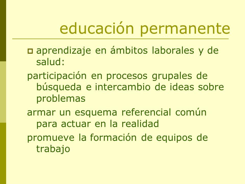 educación permanente aprendizaje en ámbitos laborales y de salud: