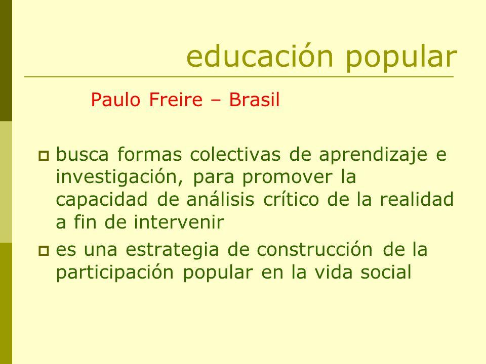 educación popular Paulo Freire – Brasil