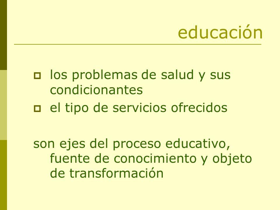 educación los problemas de salud y sus condicionantes