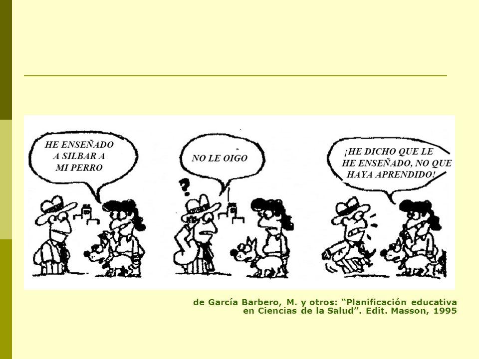 de García Barbero, M. y otros: Planificación educativa en Ciencias de la Salud . Edit. Masson, 1995
