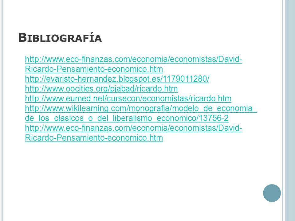 Bibliografía http://www.eco-finanzas.com/economia/economistas/David-Ricardo-Pensamiento-economico.htm.