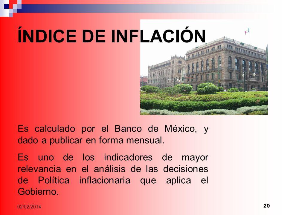ÍNDICE DE INFLACIÓN Es calculado por el Banco de México, y dado a publicar en forma mensual.