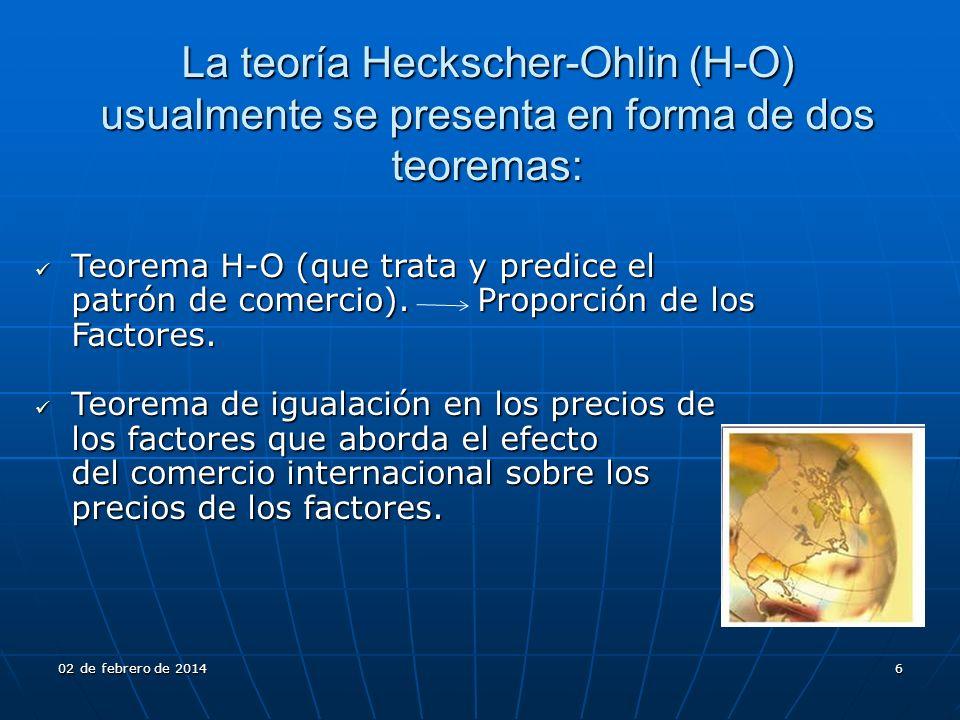 La teoría Heckscher-Ohlin (H-O) usualmente se presenta en forma de dos teoremas: