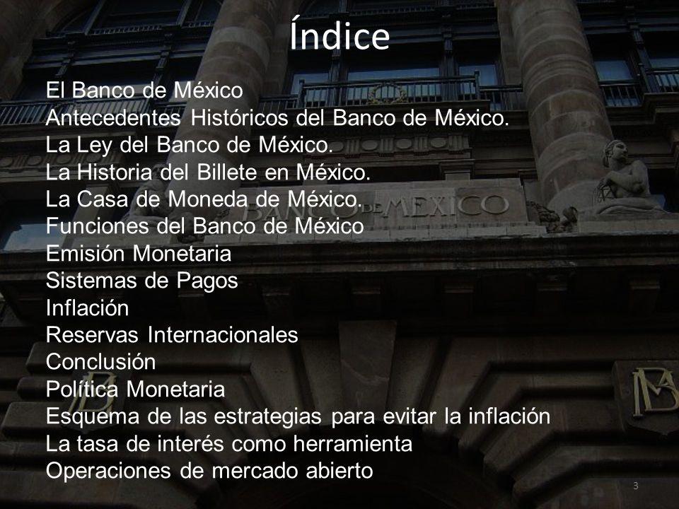 Índice El Banco de México Antecedentes Históricos del Banco de México.