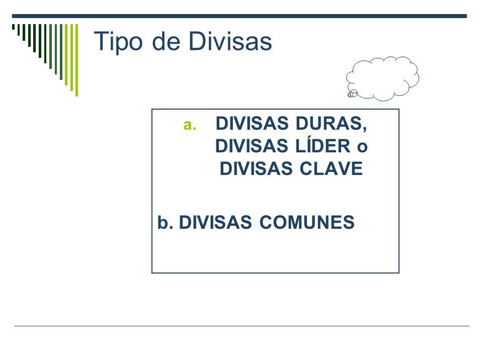 DIVISAS DURAS, DIVISAS LÍDER o DIVISAS CLAVE