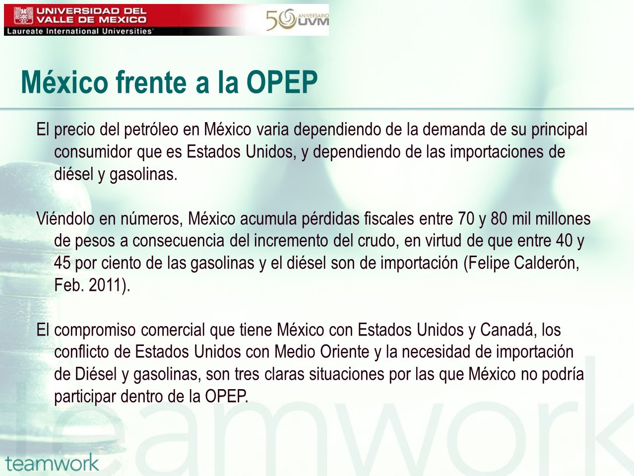 México frente a la OPEP