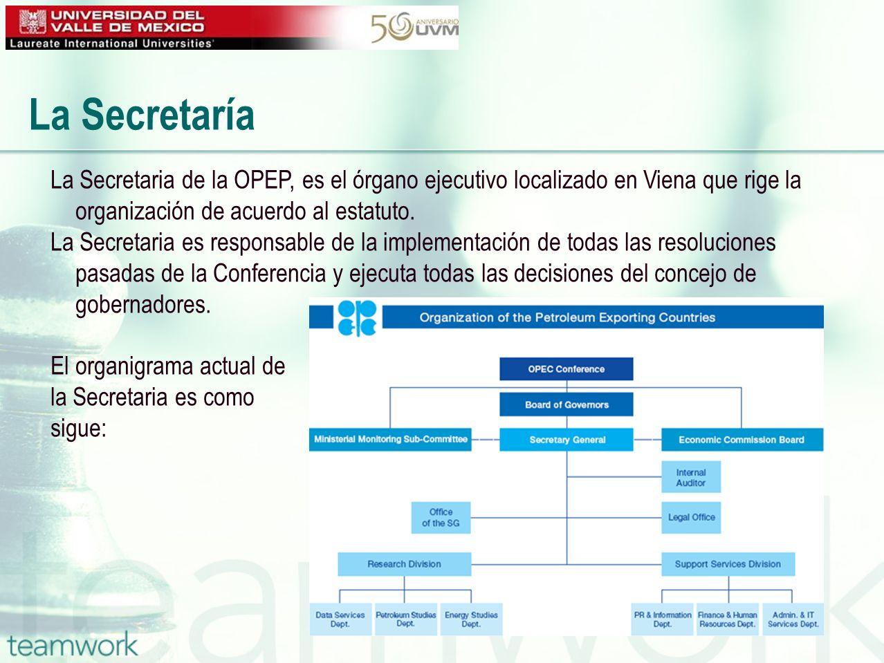 La Secretaría La Secretaria de la OPEP, es el órgano ejecutivo localizado en Viena que rige la organización de acuerdo al estatuto.