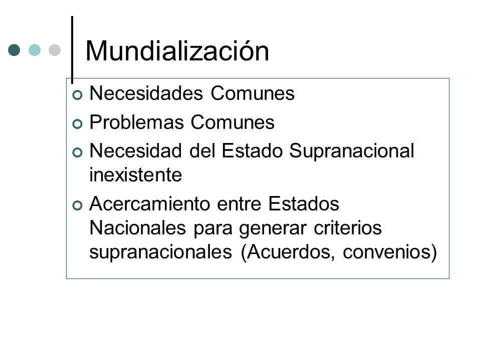 Mundialización Necesidades Comunes Problemas Comunes
