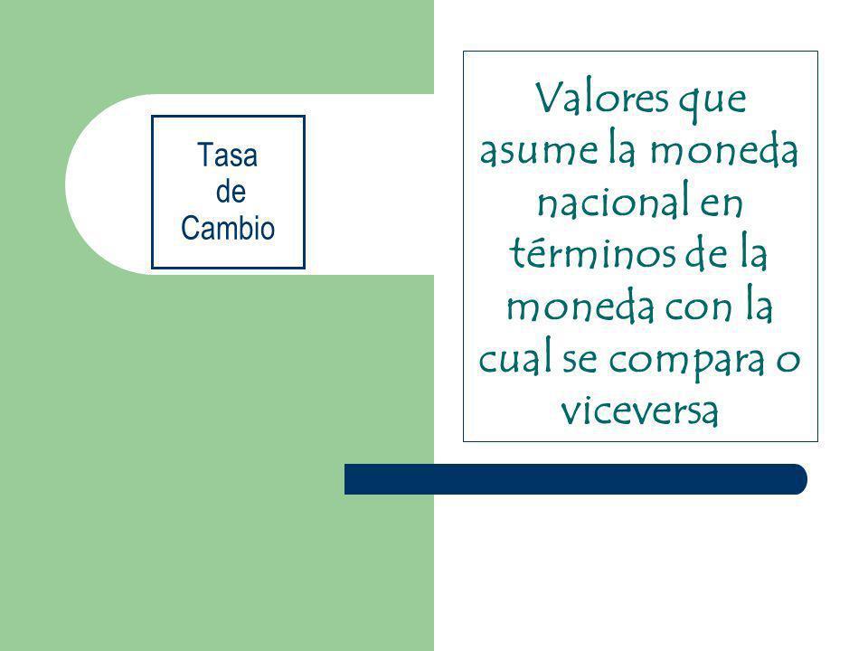 Valores que asume la moneda nacional en términos de la moneda con la cual se compara o viceversa