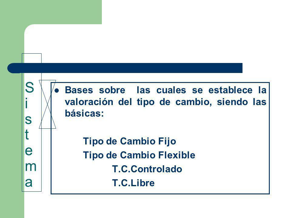 S i s t ema Bases sobre las cuales se establece la valoración del tipo de cambio, siendo las básicas: