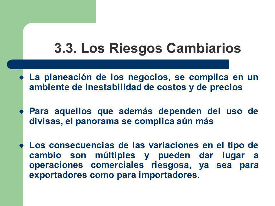 3.3. Los Riesgos Cambiarios