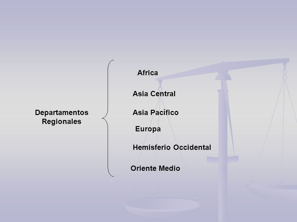 Africa Asia Central. Departamentos. Regionales.