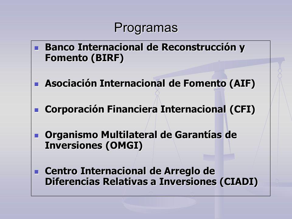 Programas Banco Internacional de Reconstrucción y Fomento (BIRF)