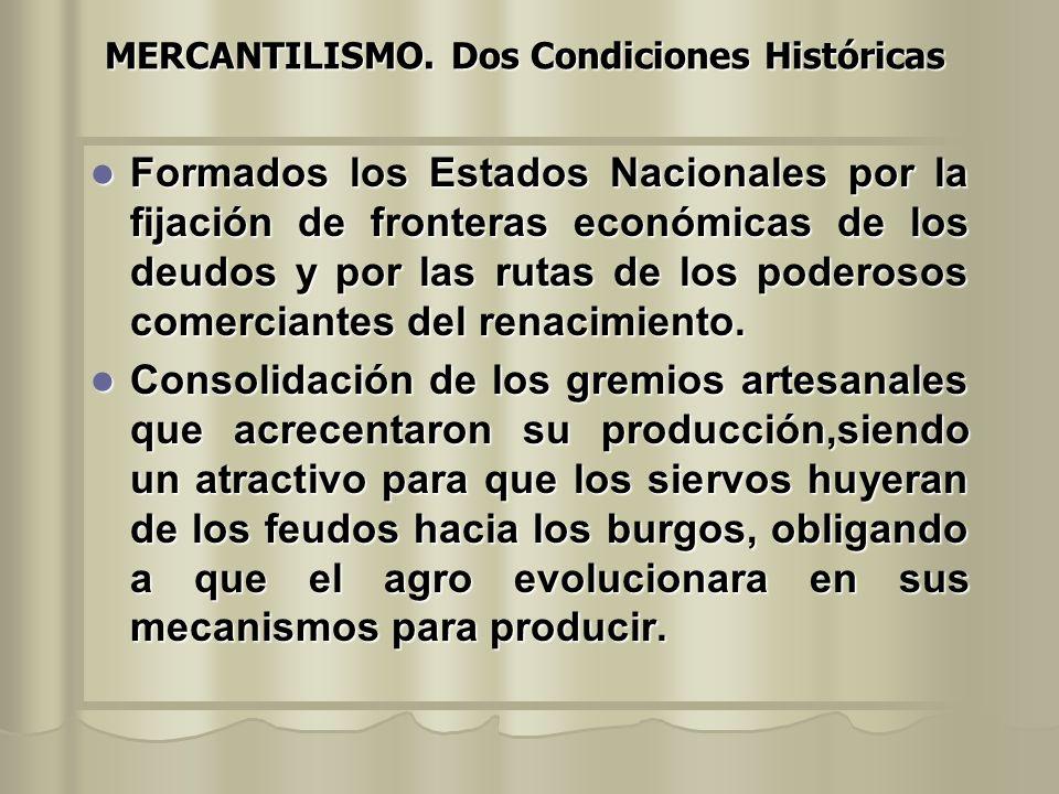 MERCANTILISMO. Dos Condiciones Históricas
