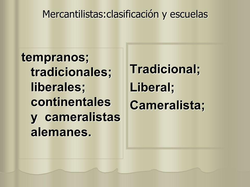 Mercantilistas:clasificación y escuelas