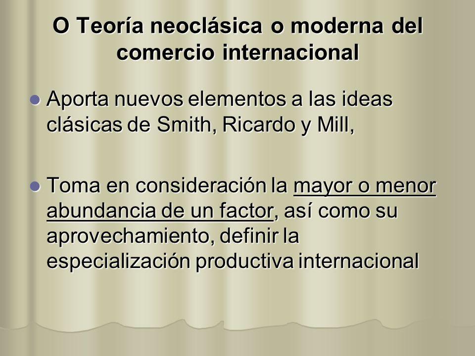 O Teoría neoclásica o moderna del comercio internacional