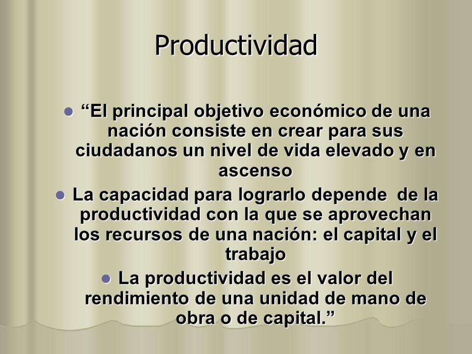 Productividad El principal objetivo económico de una nación consiste en crear para sus ciudadanos un nivel de vida elevado y en ascenso.