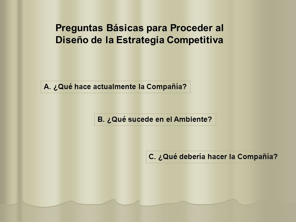 Preguntas Básicas para Proceder al Diseño de la Estrategia Competitiva