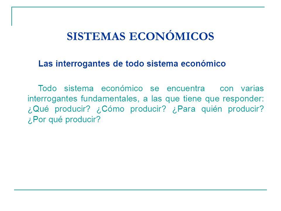SISTEMAS ECONÓMICOS Las interrogantes de todo sistema económico