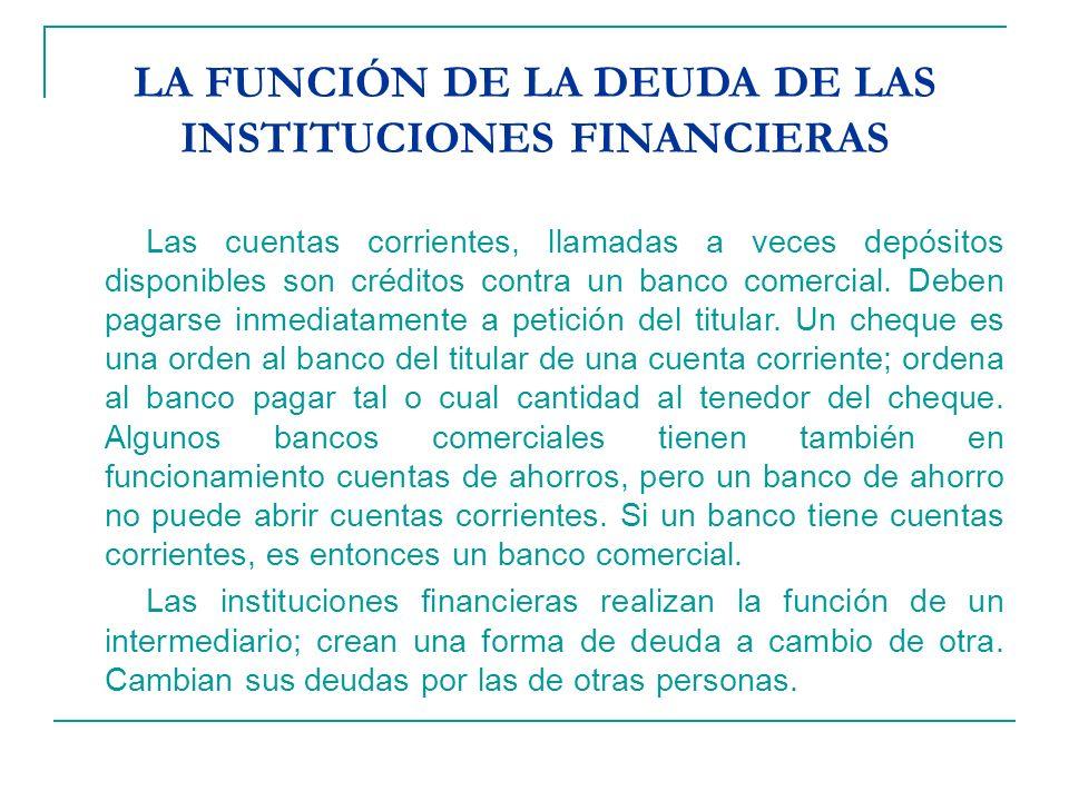 LA FUNCIÓN DE LA DEUDA DE LAS INSTITUCIONES FINANCIERAS