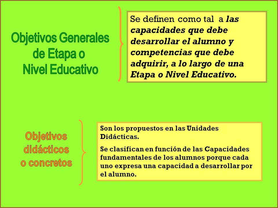 Se definen como tal a las capacidades que debe desarrollar el alumno y competencias que debe adquirir, a lo largo de una Etapa o Nivel Educativo.