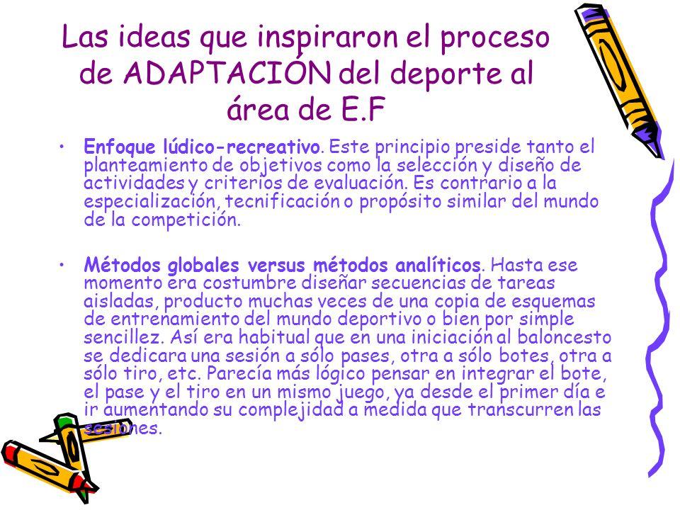 Las ideas que inspiraron el proceso de ADAPTACIÓN del deporte al área de E.F