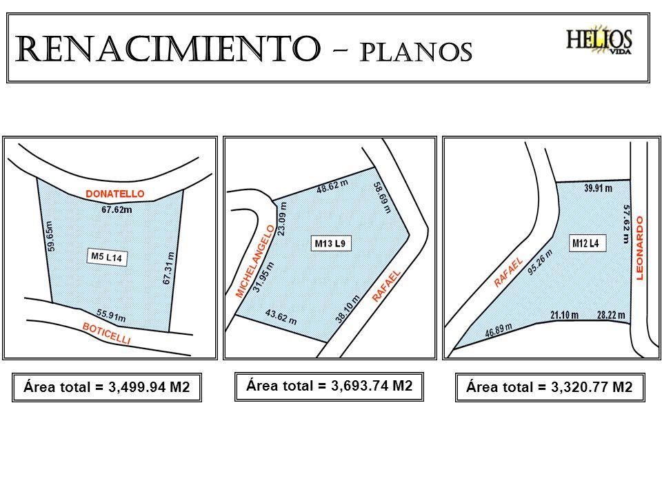 Renacimiento – PLANOS Área total = 3,499.94 M2